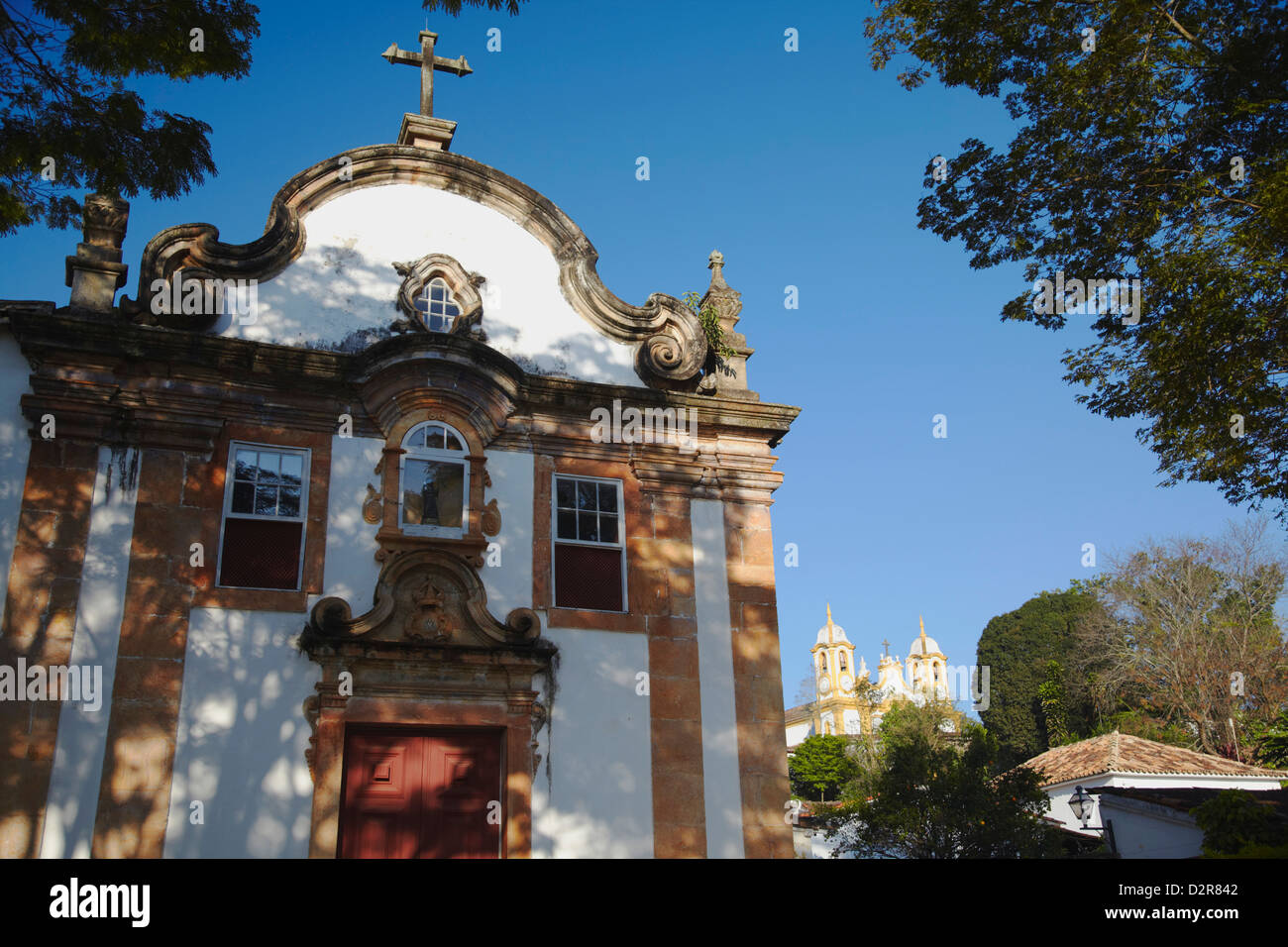 Our Lady Rosario dos Pretos and Matriz de Santo Antonio churches, Tiradentes, Minas Gerais, Brazil, South America - Stock Image