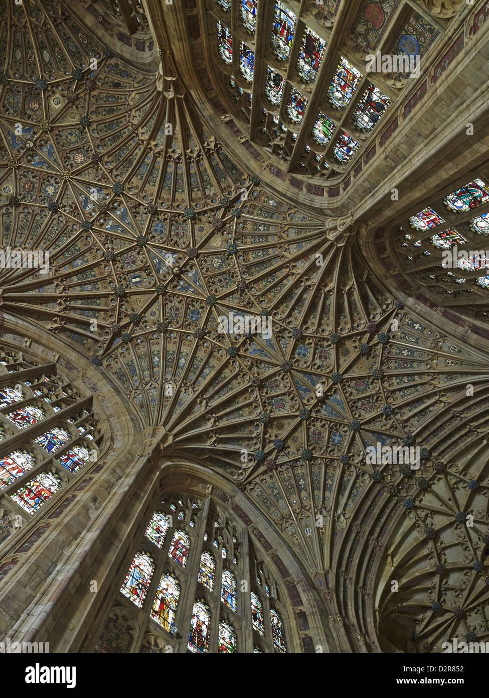 Sherborne Abbey, choir fan vaulting - Stock Image