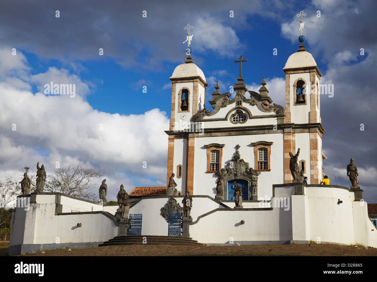Sanctuary of Bom Jesus de Matosinhos and The Prophets sculpture by Aleijadinho, Congonhas, Minas Gerais, Brazil - Stock Image