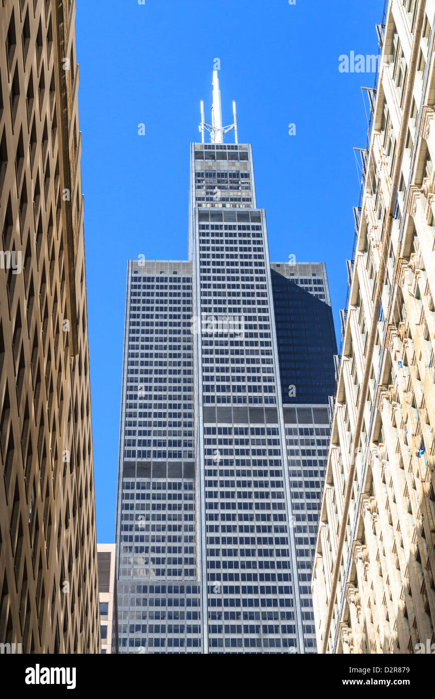 Willis Tower, formerly the Sears Tower, at the time it was the tallest building in the world, Chicago, Illinois, Stock Photo
