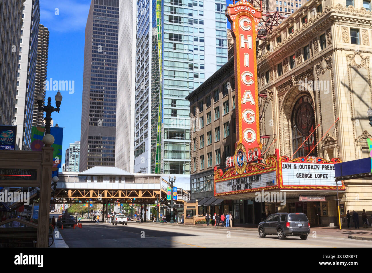 Chicago Theater, State Street, Chicago, Illinois, United States of America, North America - Stock Image
