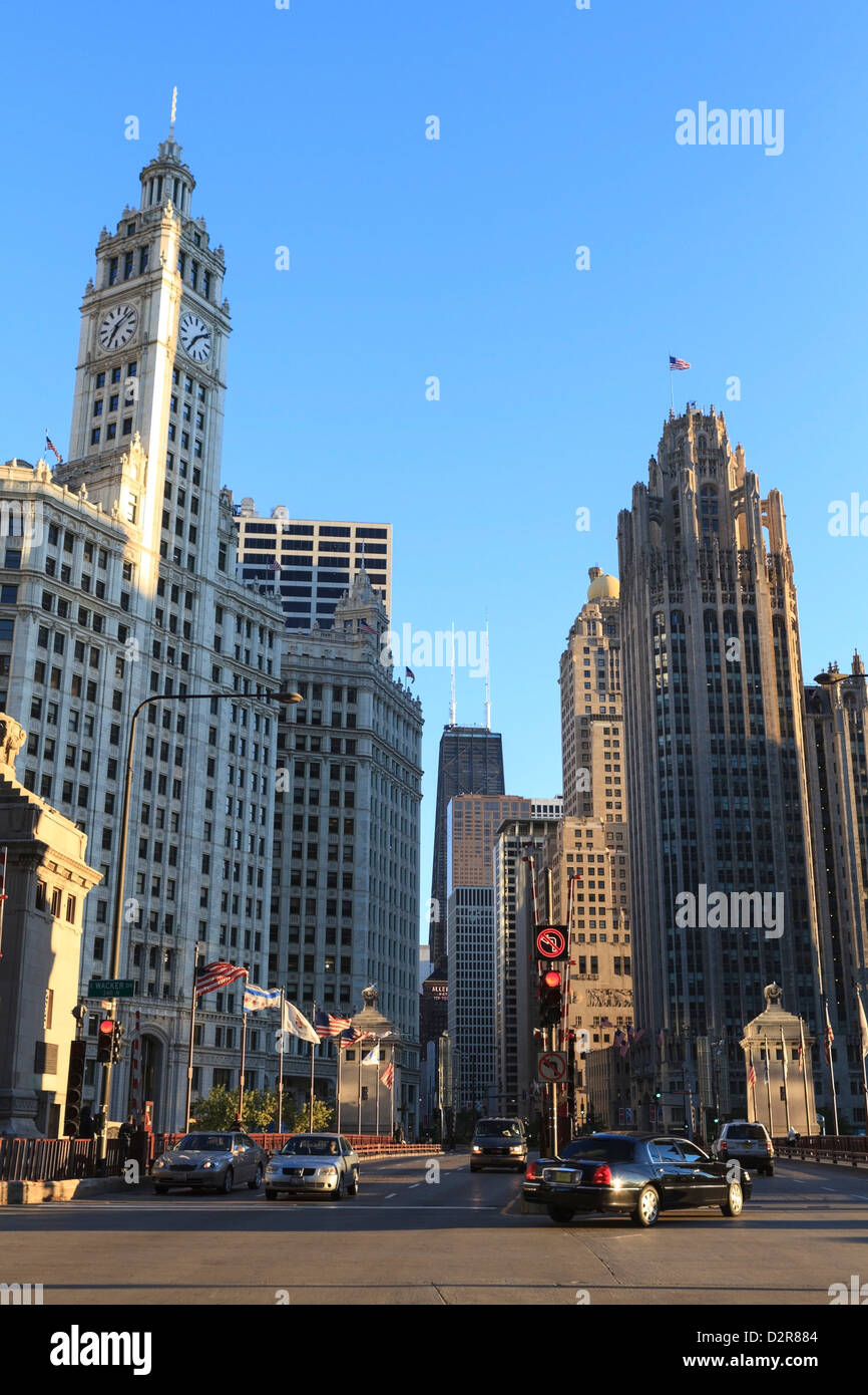 The Wrigley Building and Tribune Tower, North Michigan Avenue, Chicago, Illinois, United States of America, North Stock Photo