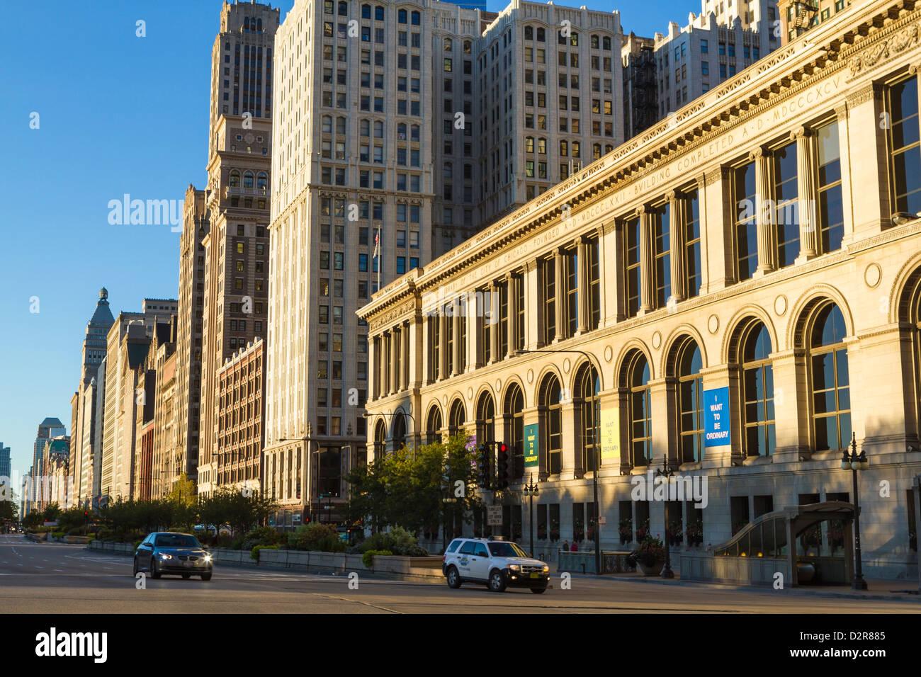 Tall buildings on North Michigan Avenue, Chicago, Illinois, United States of America, North America - Stock Image