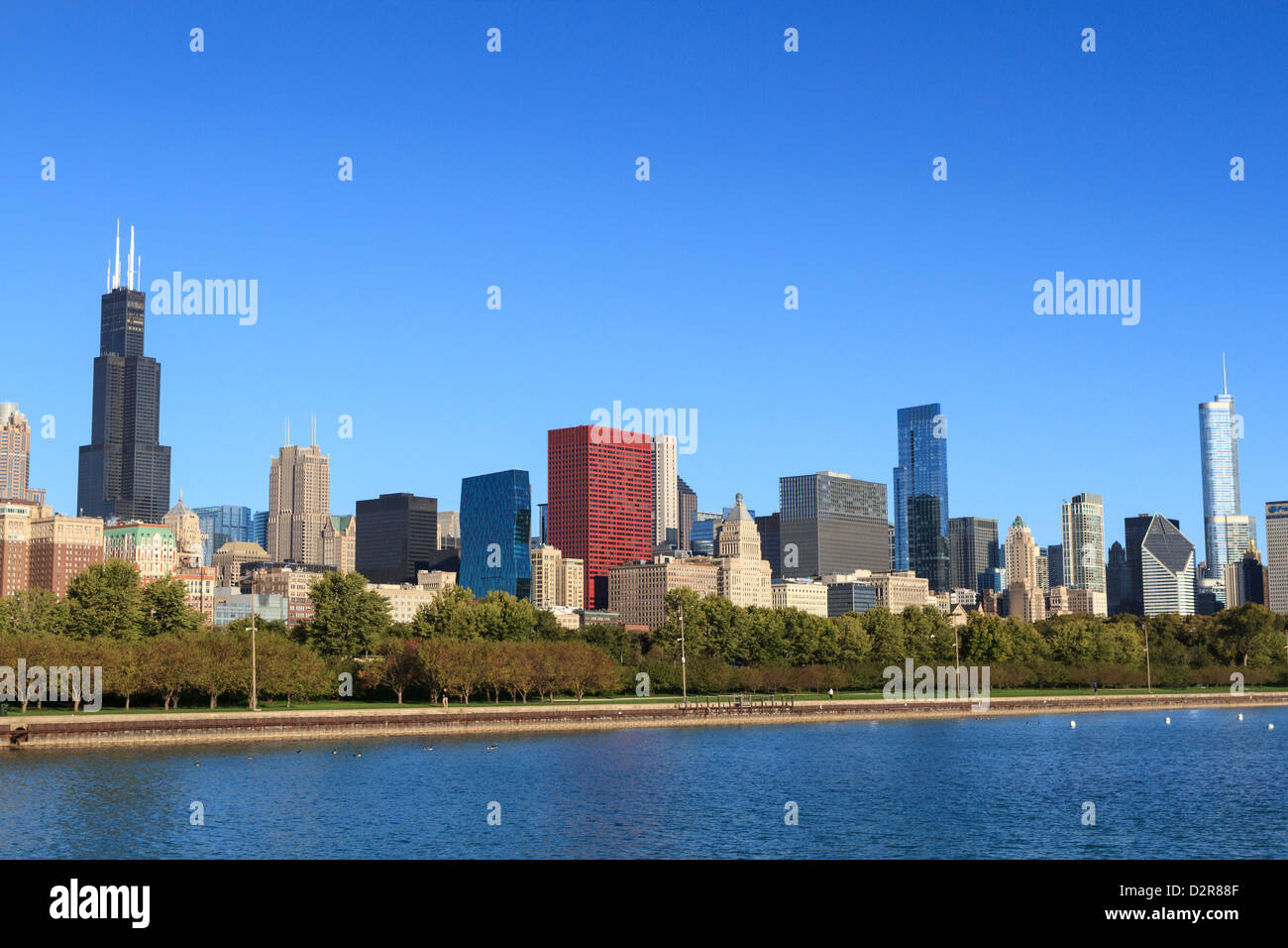 Chicago skyline and Lake Michigan with the Willis Tower, formerly the Sears Tower on the left, Chicago, Illinois, - Stock Image