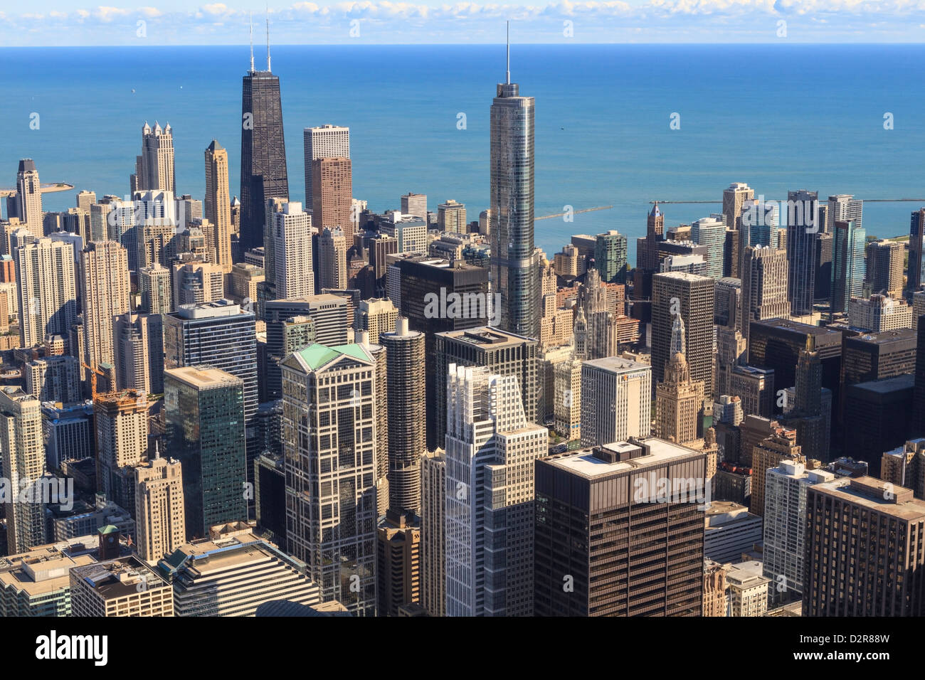 Chicago cityscape and Lake Michigan, Hancock Center and Trump Tower, Chicago, Illinois, United States of America, - Stock Image