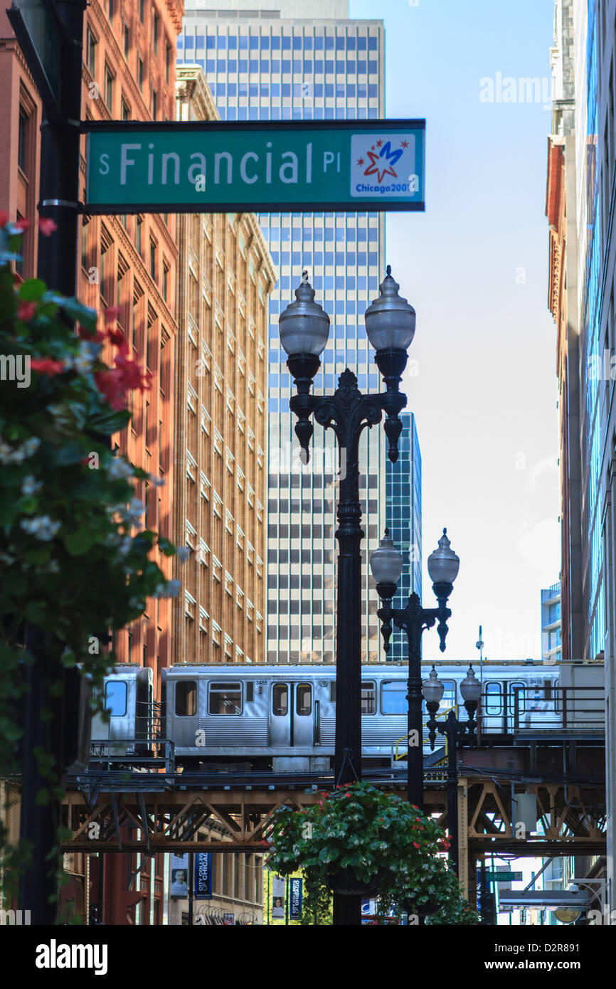 El train in The Loop, Downtown Chicago, Illinois, United States of America, North America - Stock Image