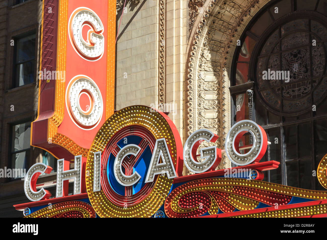 The Chicago Theater sign has become an iconic symbol of the city, Chicago, Illinois, United States of America, North - Stock Image