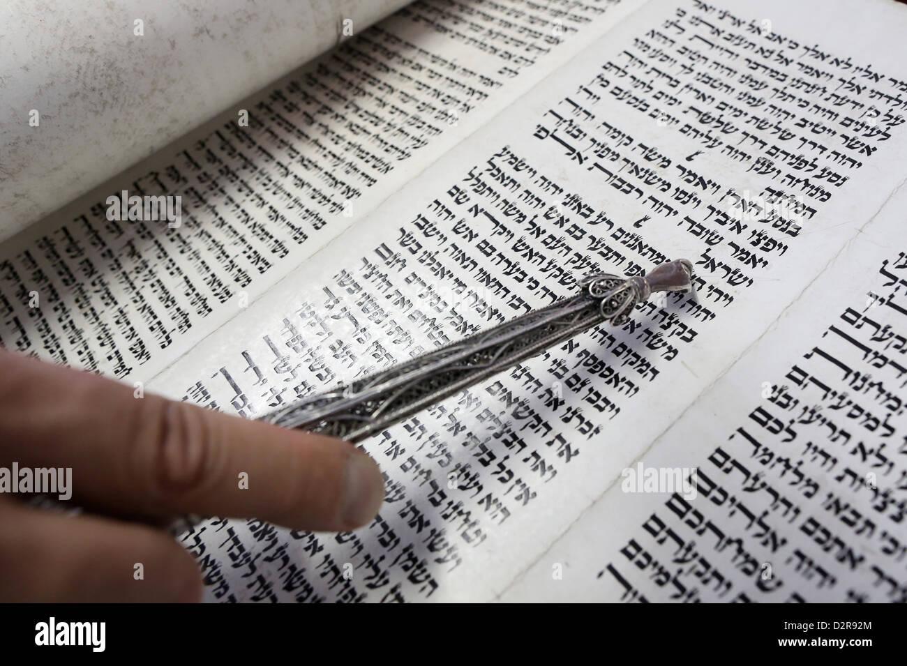 Jewish Torah scroll with pointer, Paris, France, Europe - Stock Image