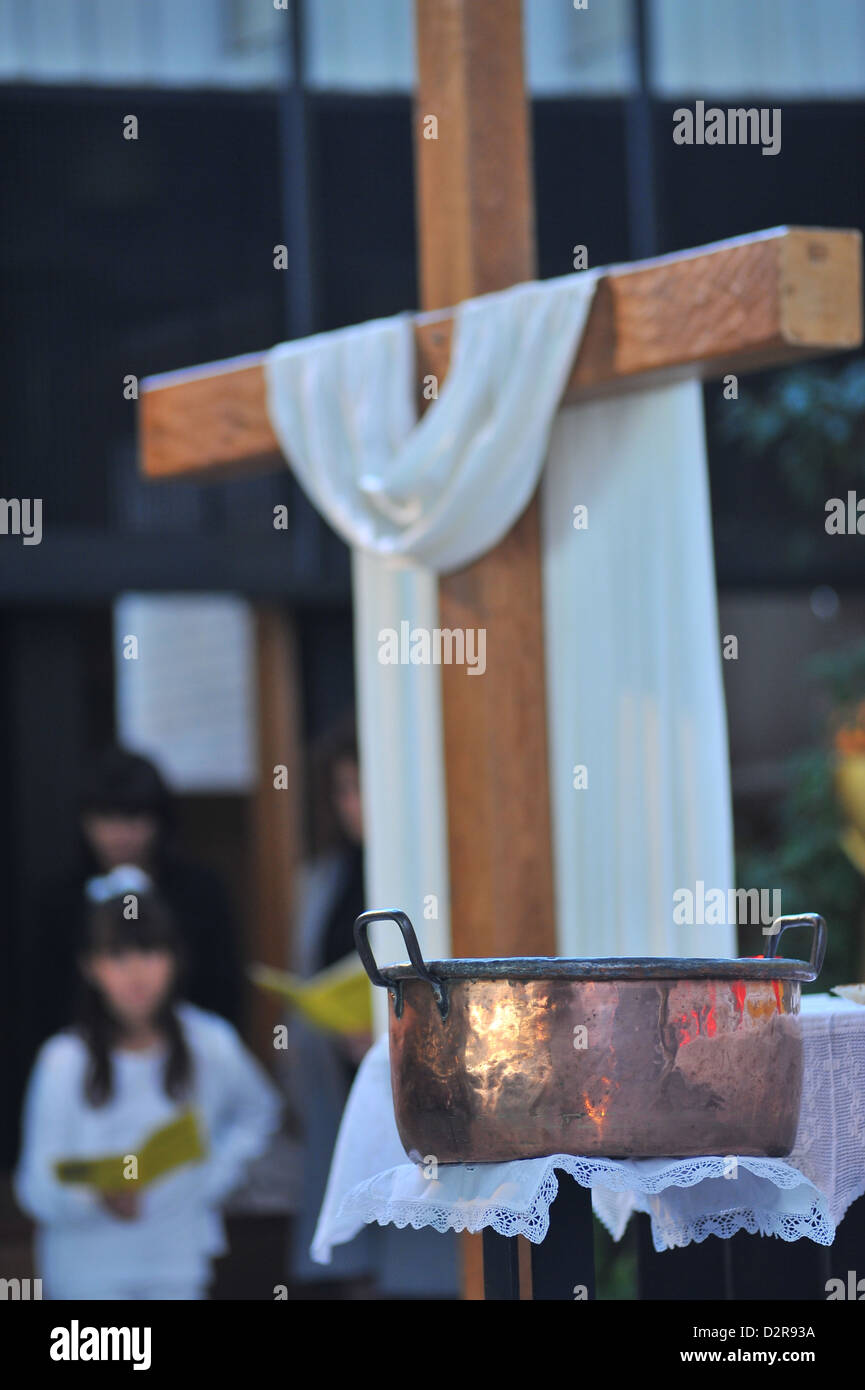 Easter Sunday celebration with baptisms, Paris, France, Europe - Stock Image