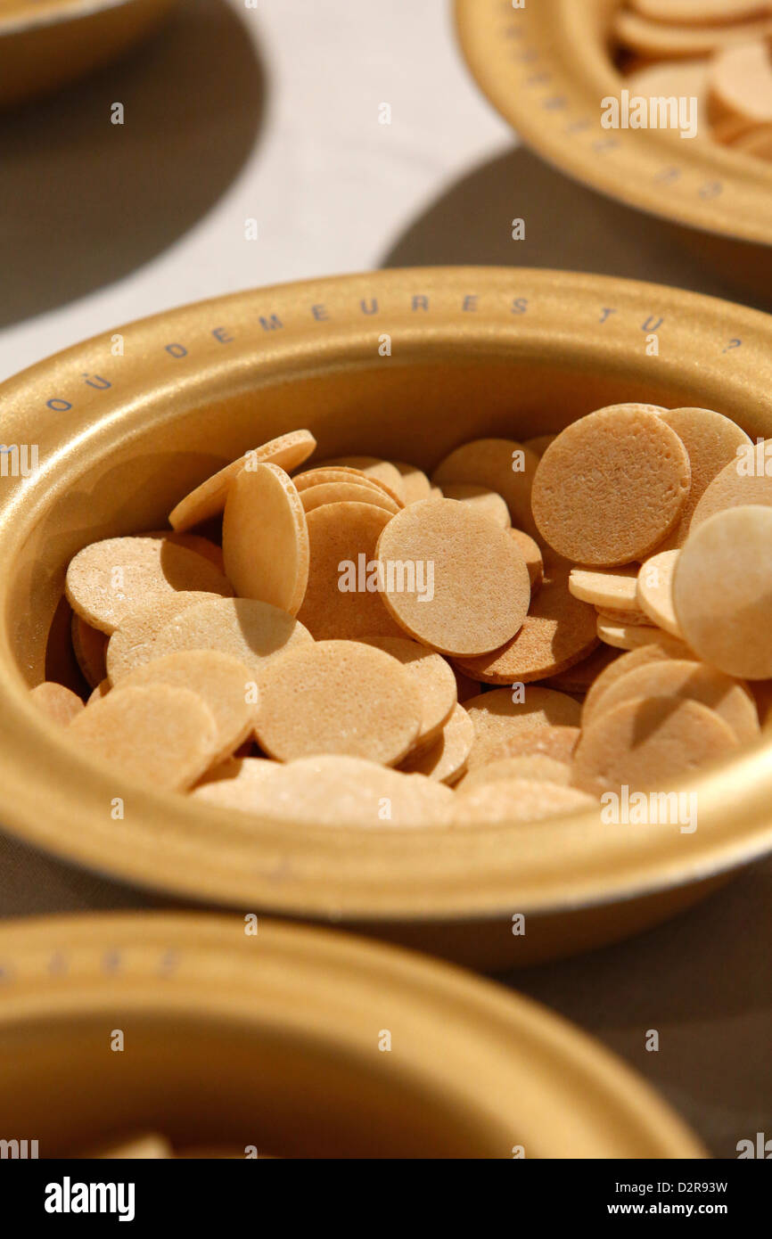 Host wafers in a Catholic church, Seine-Saint-Denis, France, Europe - Stock Image