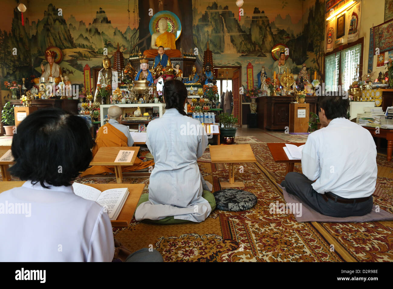 Ceremony in Tu An Buddhist temple, Saint-Pierre-en-Faucigny, Haute-Savoie, France, Europe - Stock Image