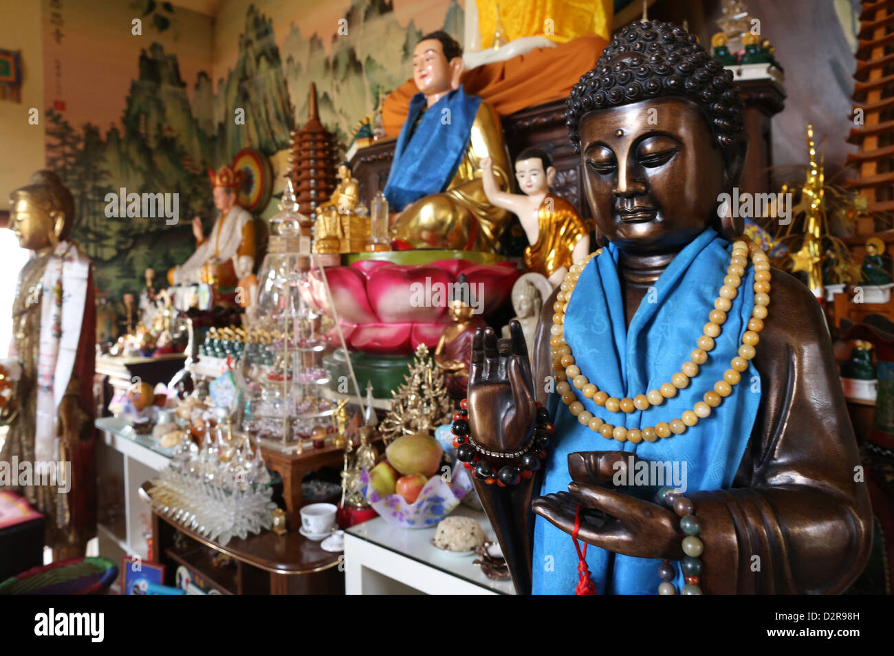 Buddha statue in Tu An Buddhist temple, Saint-Pierre-en-Faucigny, Haute-Savoie, France, Europe - Stock Image