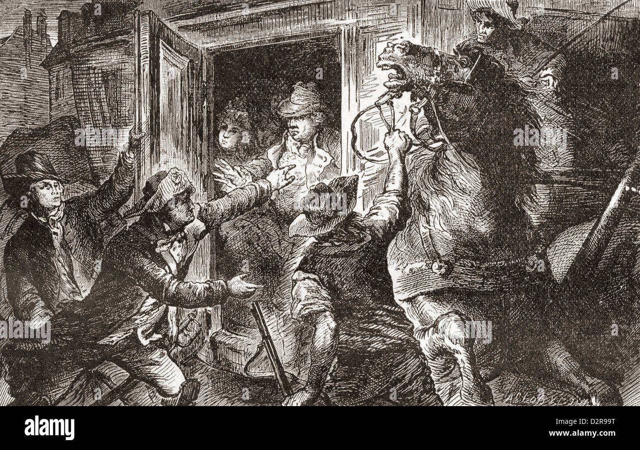 The detention of French King Louis XVI at Varennes, France in 1791. - Stock Image