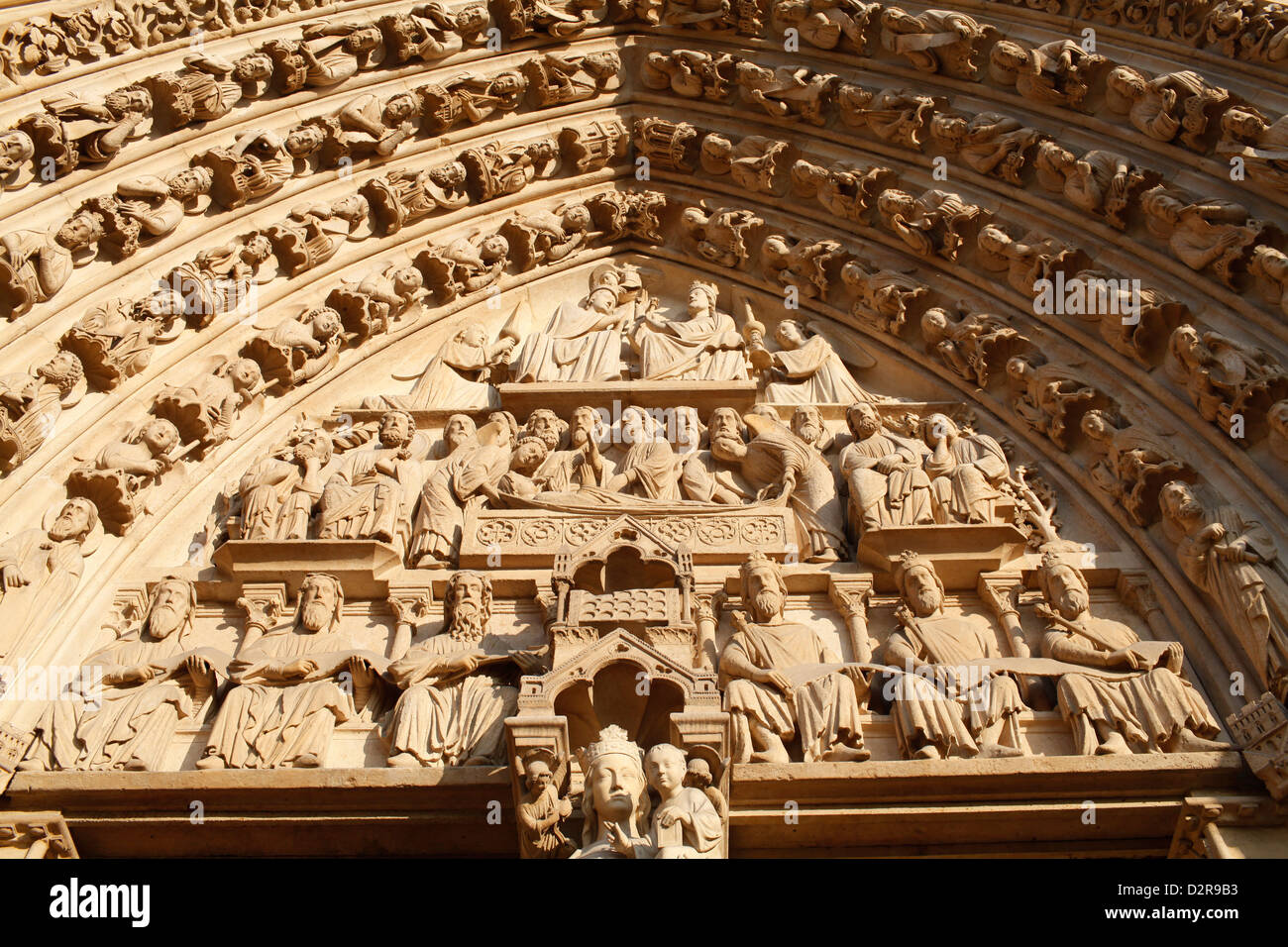 Virgin's Gate tympanum, Western facade, Notre Dame Cathedral, Paris, France, Europe - Stock Image