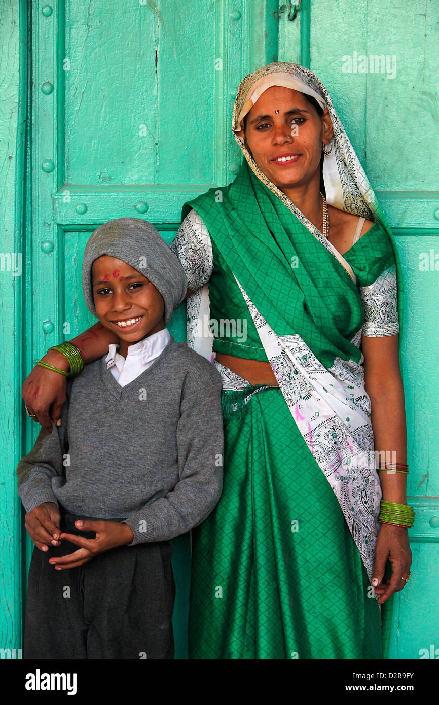 Indian mother and son, Nandgaon, Uttar Pradesh, India, Asia Stock Photo