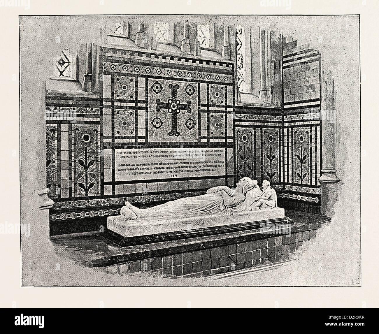 OTTERY ST. MARY, FROM THE SOUTH WEST, MONUMENT TO LADY COLERIDGE, UK - Stock Image