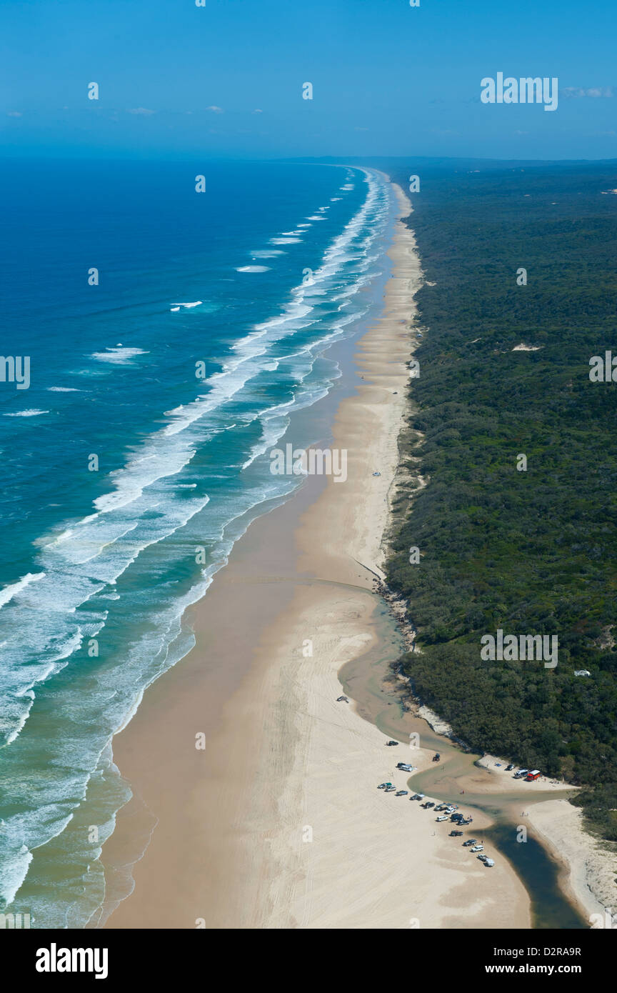 Aerial of the Seventy-Five Mile Beach, Fraser Island, UNESCO World Heritage Site, Queensland, Australia, Pacific - Stock Image