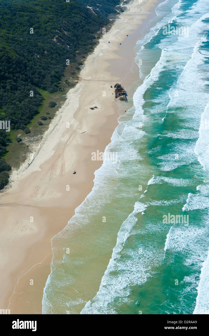 Aerial of the 75 mile beach and Mahona II shipwreck, Fraser Island, UNESCO World Heritage Site, Queensland, Australia, - Stock Image