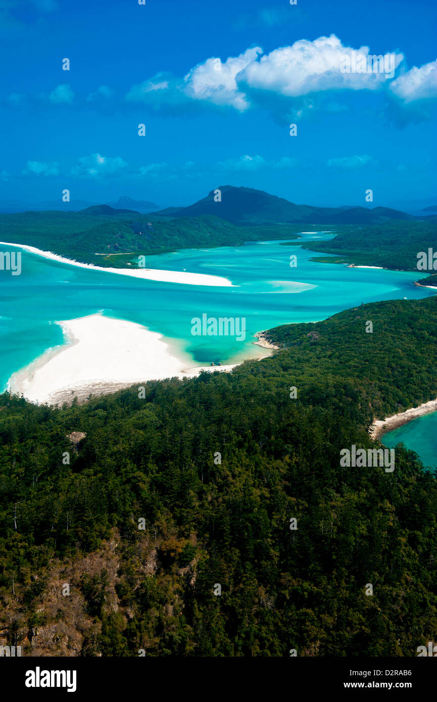 Aerial of Whitehaven in the Whit Sunday Islands, Queensland, Australia, Pacific - Stock Image