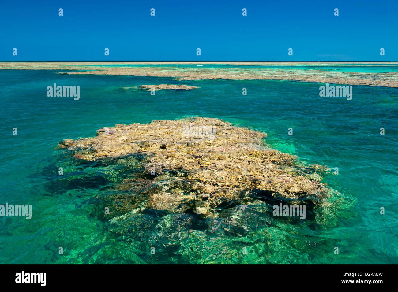 Aerial of the Great Barrier Reef. UNESCO World Heritage Site, Queensland, Australia, Pacific - Stock Image