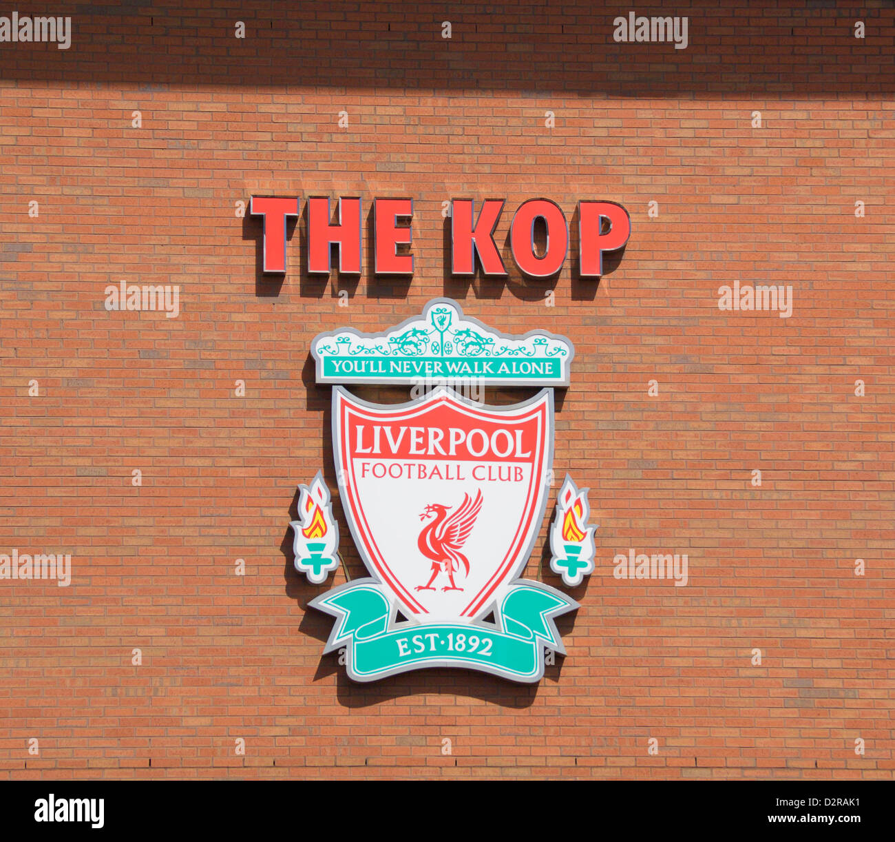 The Kop sign Liverpool Football Club Anfield Liverpool England - Stock Image