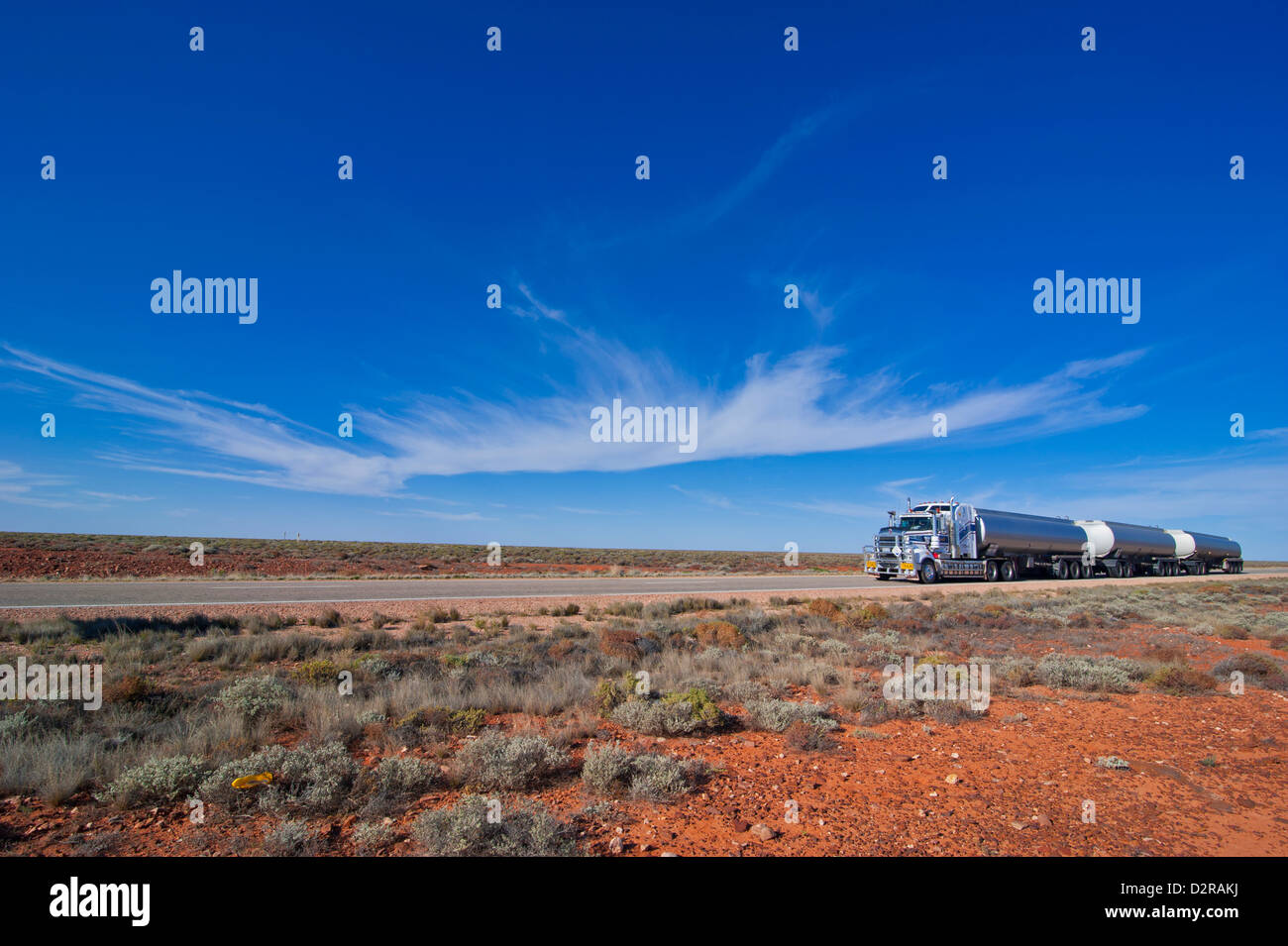 Truck riding through the outback of South Australia, Australia, Pacific - Stock Image