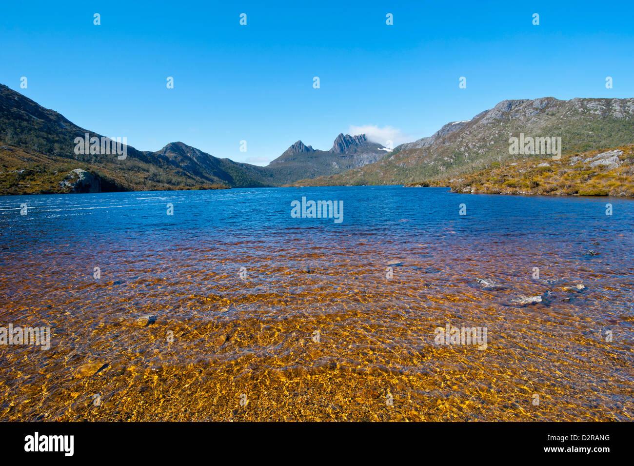 Dove Lake and Cradle Mountain, Cradle Mountain-Lake St. Clair National Park, Tasmania, Australia - Stock Image