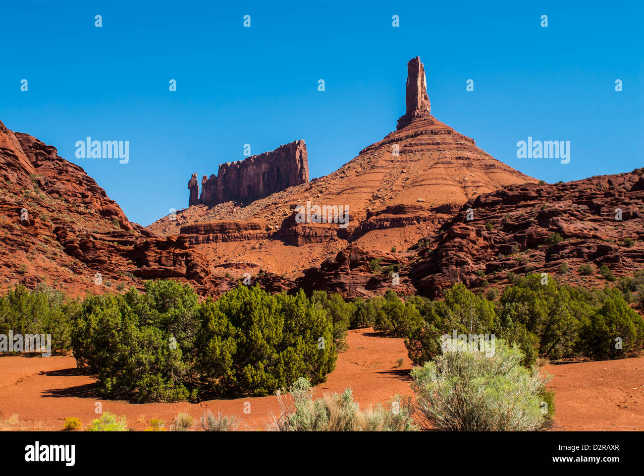 The Fisher Towers in Castle Valley, near Moab, Utah, United States of America, North America - Stock Image