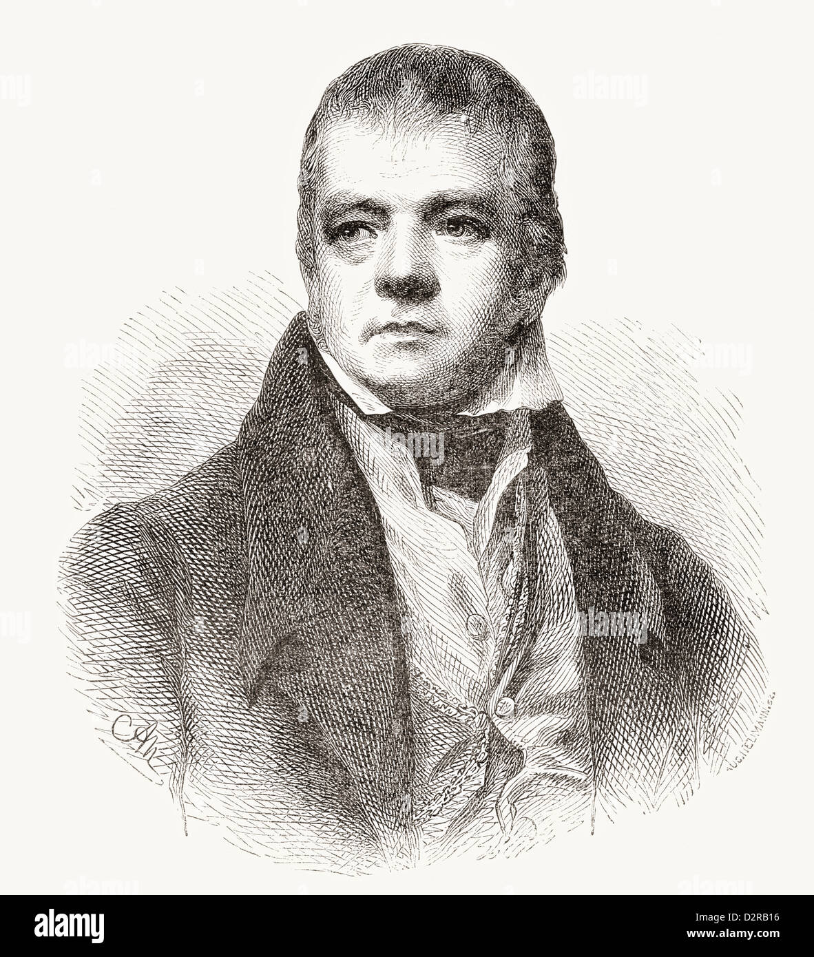 Sir Walter Scott, 1st Baronet, 1771 – 1832. Scottish historical novelist, playwright and poet. - Stock Image