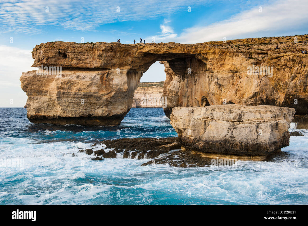 Famous sea arch, the Azure Window, Gozo, Malta, Mediterranean, Europe - Stock Image