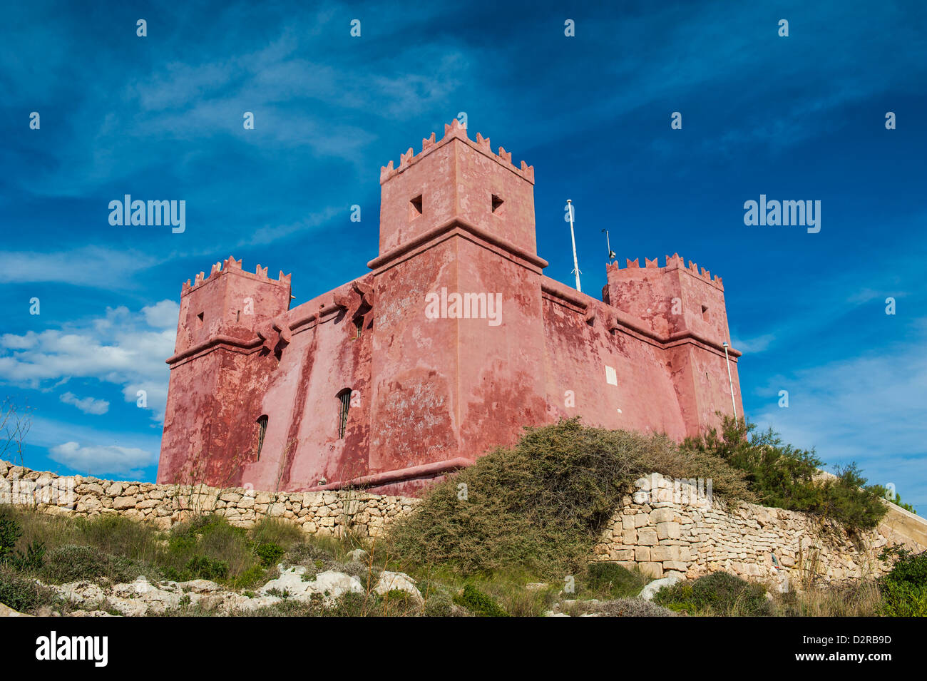 St. Agatha Tower (Red Keep) (Red Tower), Malta, Europe - Stock Image