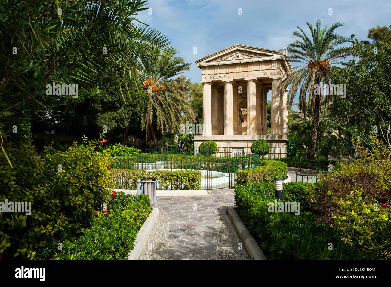 Lower Barrakka Gardens and the Alexander Ball memorial temple, Valetta, UNESCO World Heritage Site, Malta, Europe - Stock Image