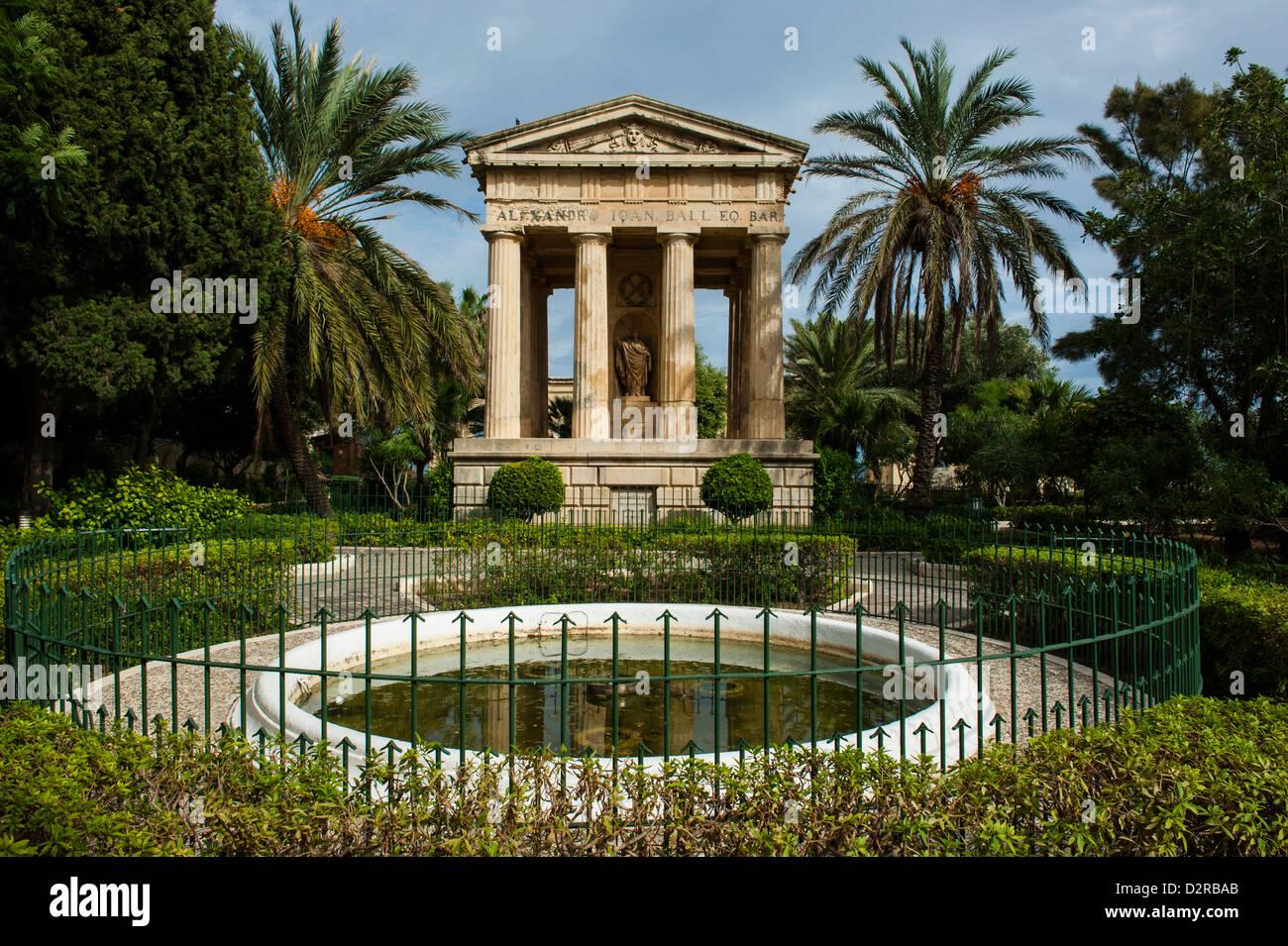 Lower Barrakka Gardens and the Alexander Ball memorial, UNESCO World Heritage Site, Valetta, Malta, Europe - Stock Image