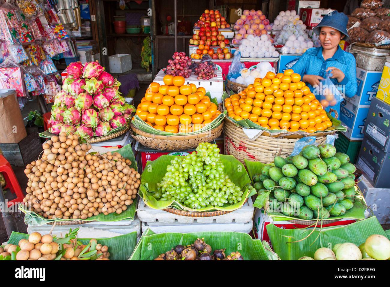 Fruit, Central Market, Phnom Penh, Cambodia, Indochina, Southeast Asia, Asia - Stock Image