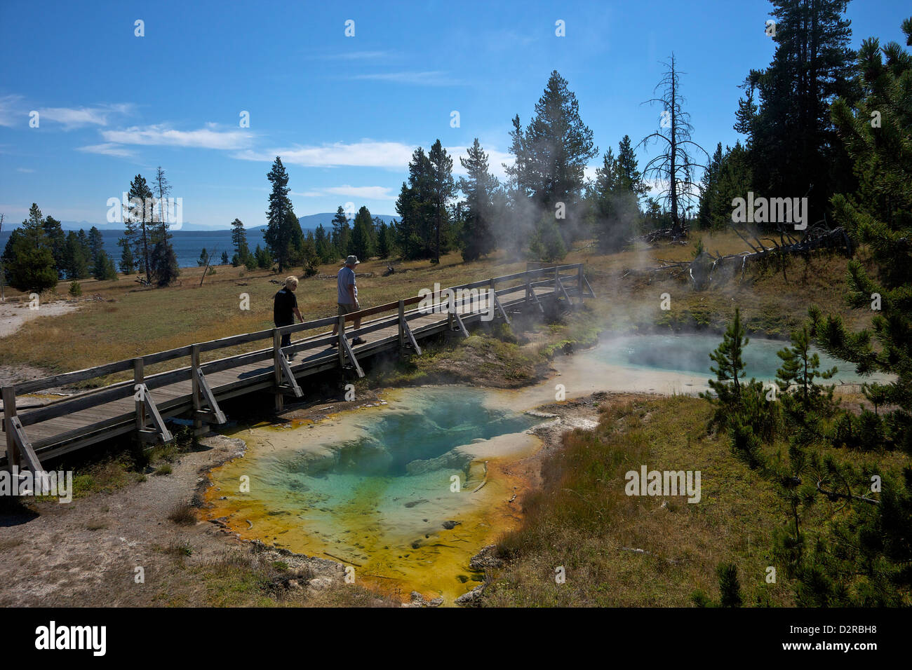 Tourists looking at Seismograph and Bluebell pools, West Thumb Geyser Basin, Yellowstone National Park, Wyoming, - Stock Image