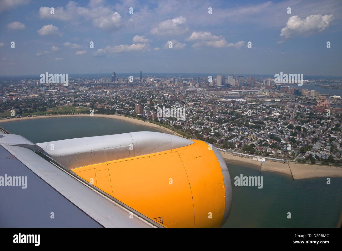 View from Icelandair passenger jet aircraft window over Boston, Massachusetts, New England, USA - Stock Image