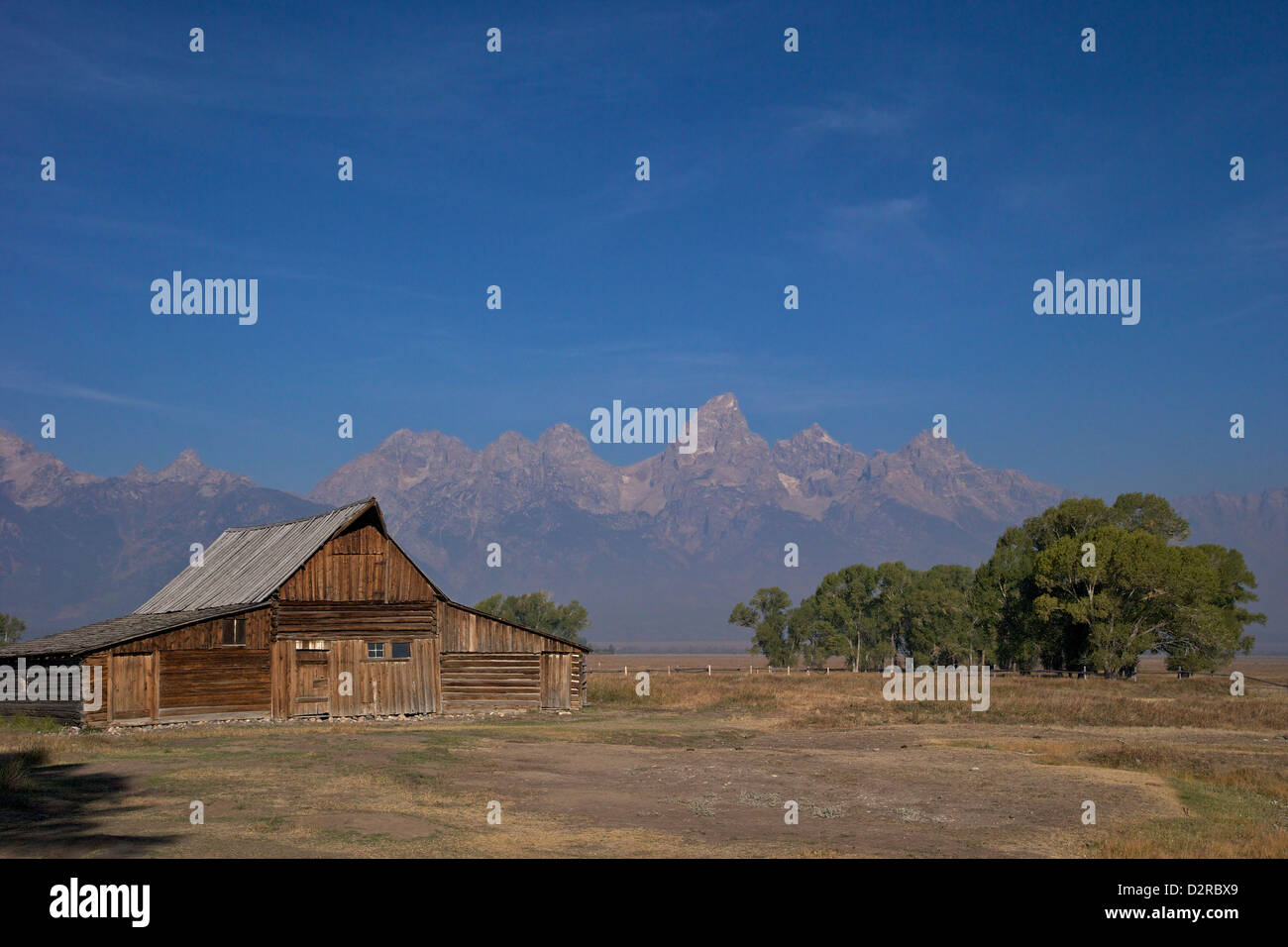 Barn, Thomas Alma and Lucille Moulton Homestead, Mormon Row Historic District, Grand Teton National Park, Wyoming, - Stock Image
