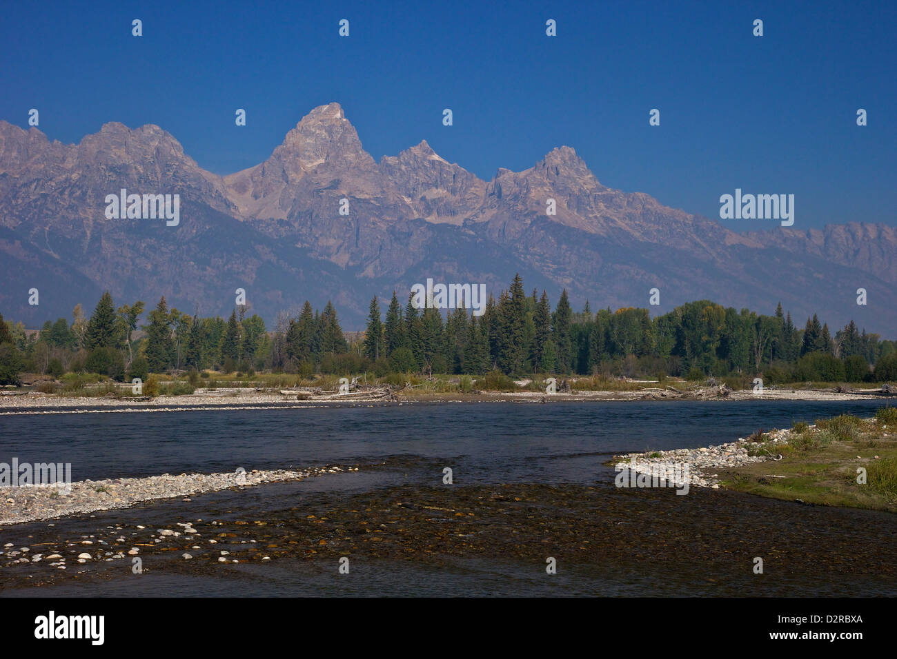 Snake River and Grand Teton Cathedral Group from Blacktail Ponds area,  Grand Teton National Park, Wyoming, USA - Stock Image
