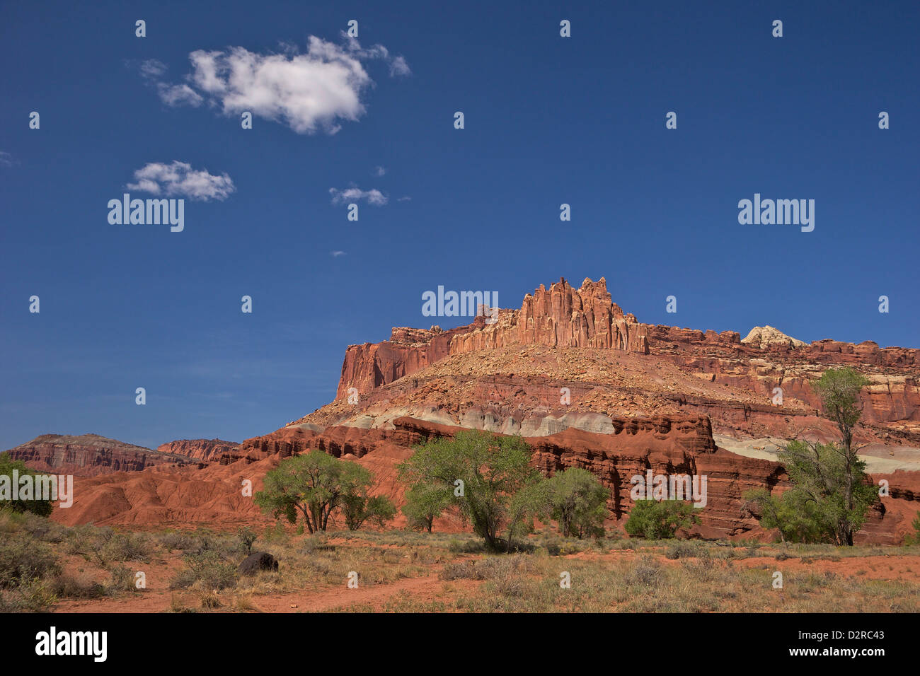 The Castle and Highway 24, Capitol Reef National Park, Utah, United States of America, North America - Stock Image