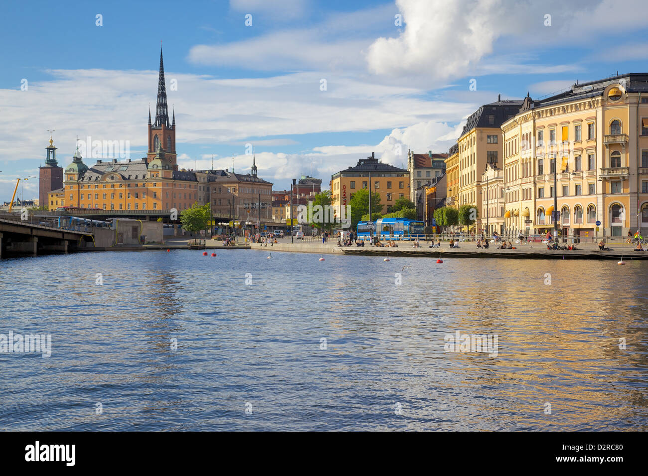 Riddarholmen with spire of Riddarholmskyrkan (Riddarholmen Church) on the skyline, Stockholm, Sweden, Europe - Stock Image