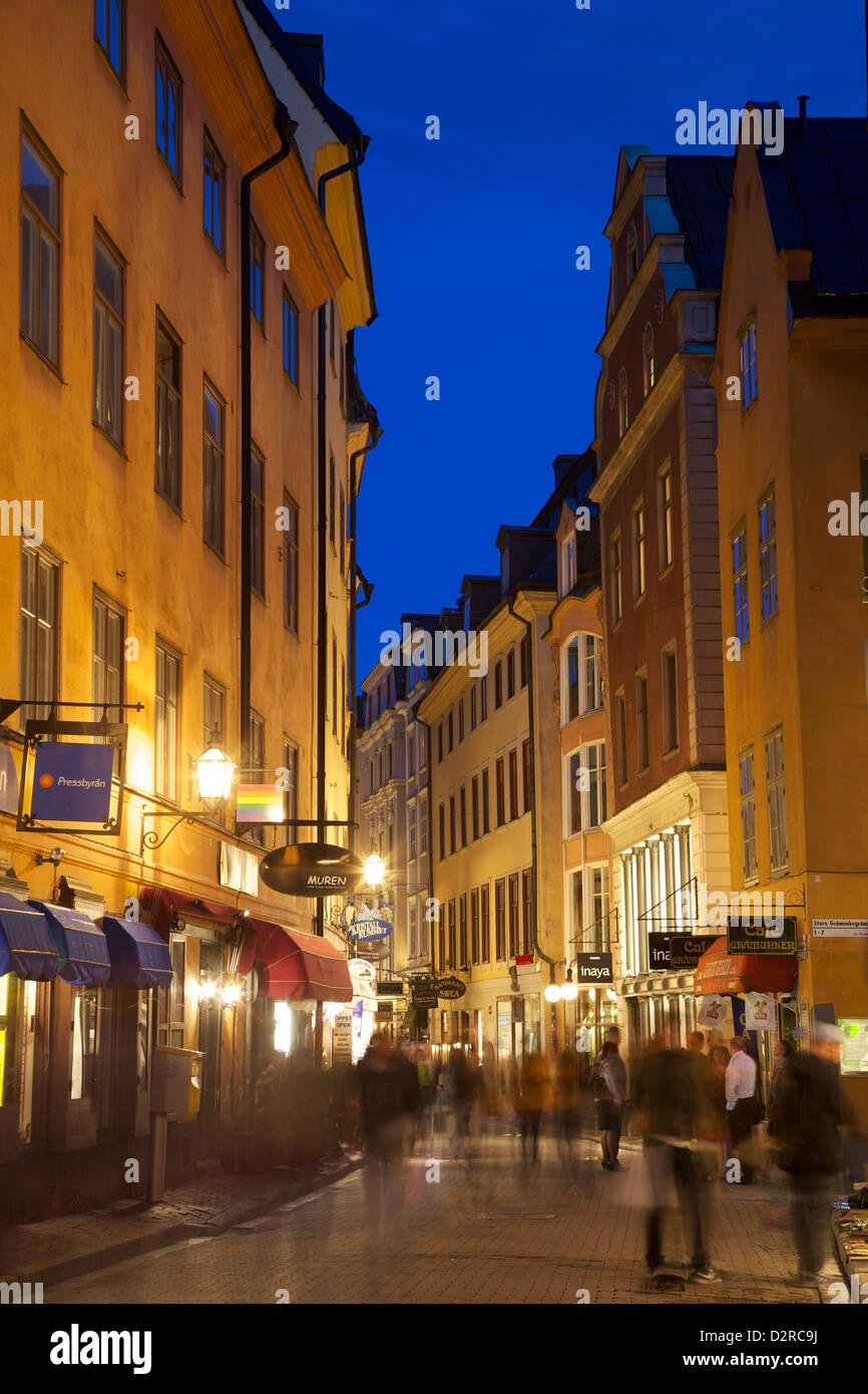 Busy street at dusk, Gamla Stan, Stockholm, Sweden, Europe - Stock Image