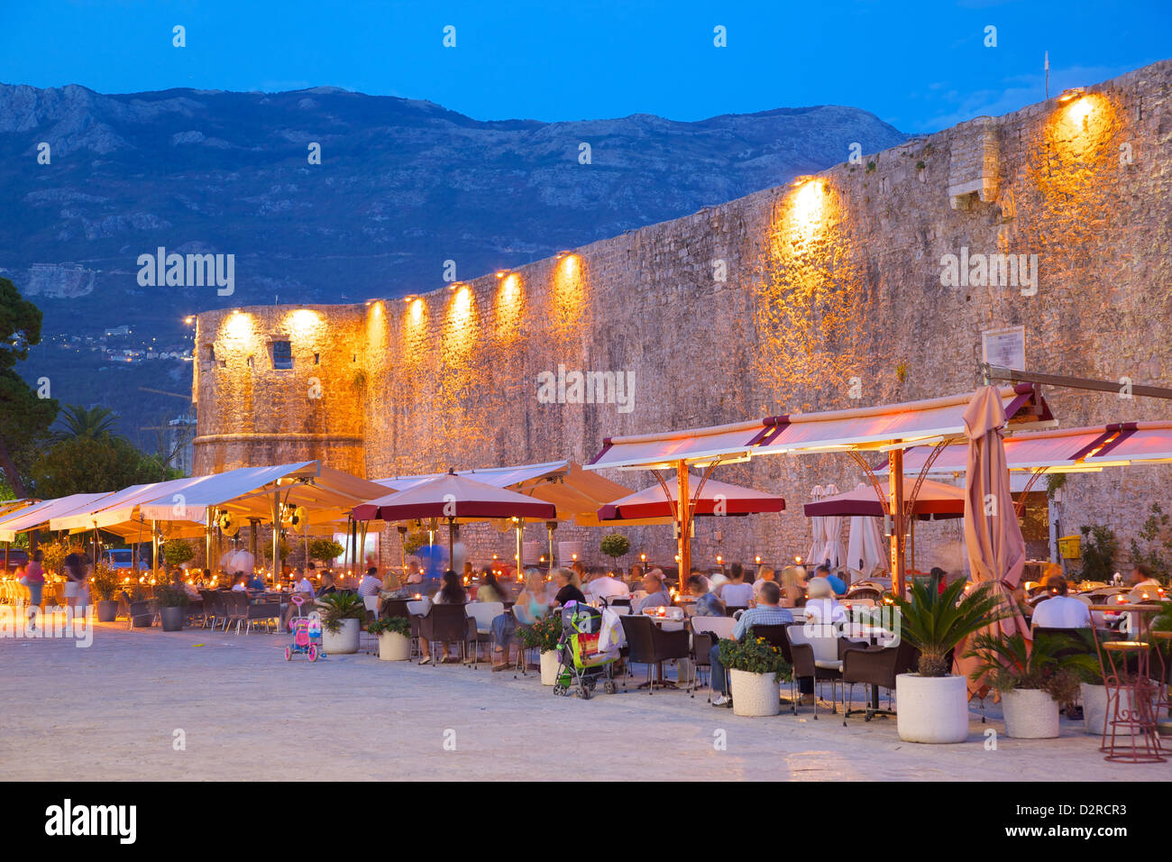 Old Town at night, Budva, Montenegro, Europe - Stock Image