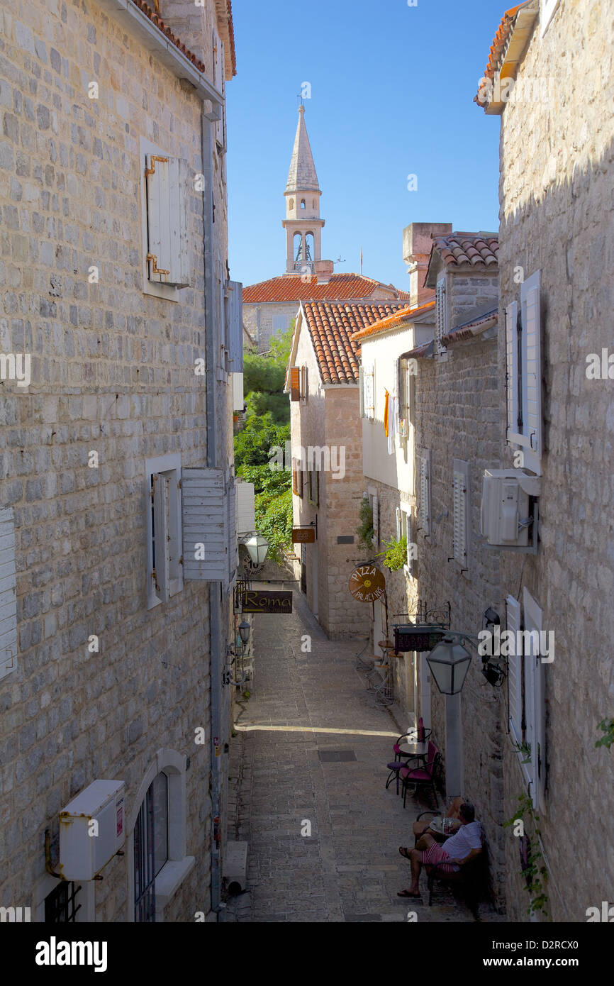 Narrow street in the Old Town, Budva, Montenegro, Europe Stock Photo