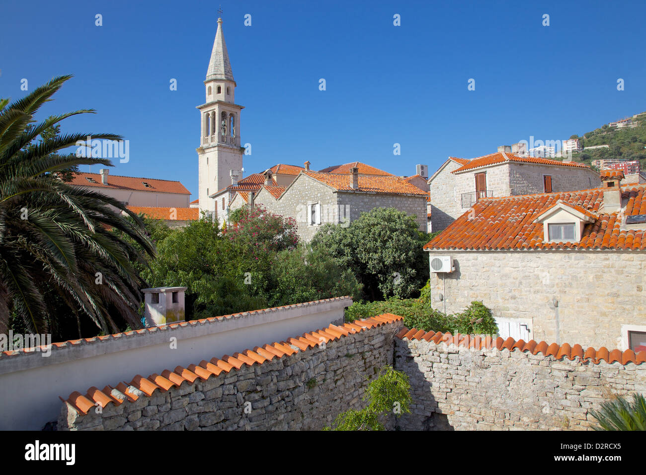 Church belltower from City Wall, Old Town, Budva, Montenegro, Europe - Stock Image