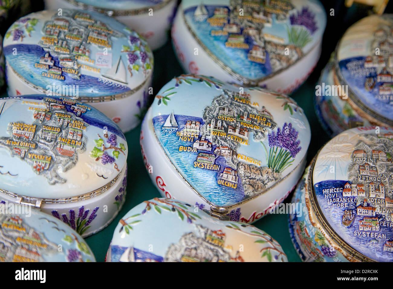 Souvenir pottery, Old Town, Budva, Montenegro, Europe - Stock Image