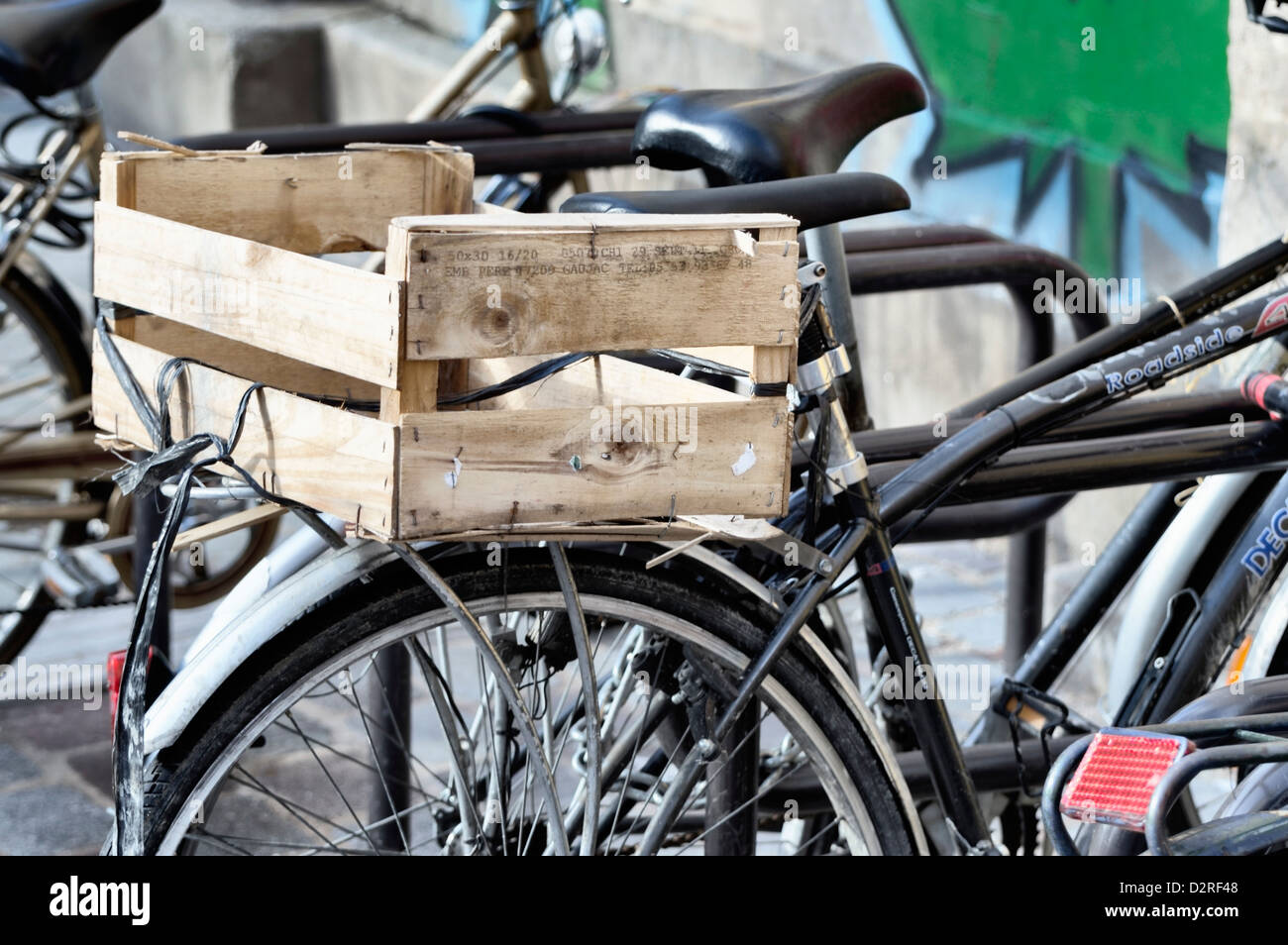 Wooden Crate Used As Improvised Bike Luggage Carrier Box Stock Photo