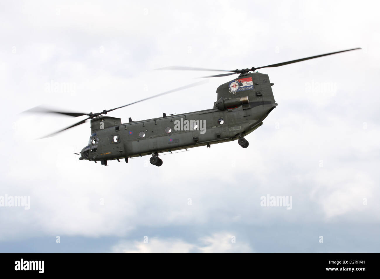 CHinook HC2 ZA714 'AV' displays at RIAT 2012, RAF Fairford - Stock Image