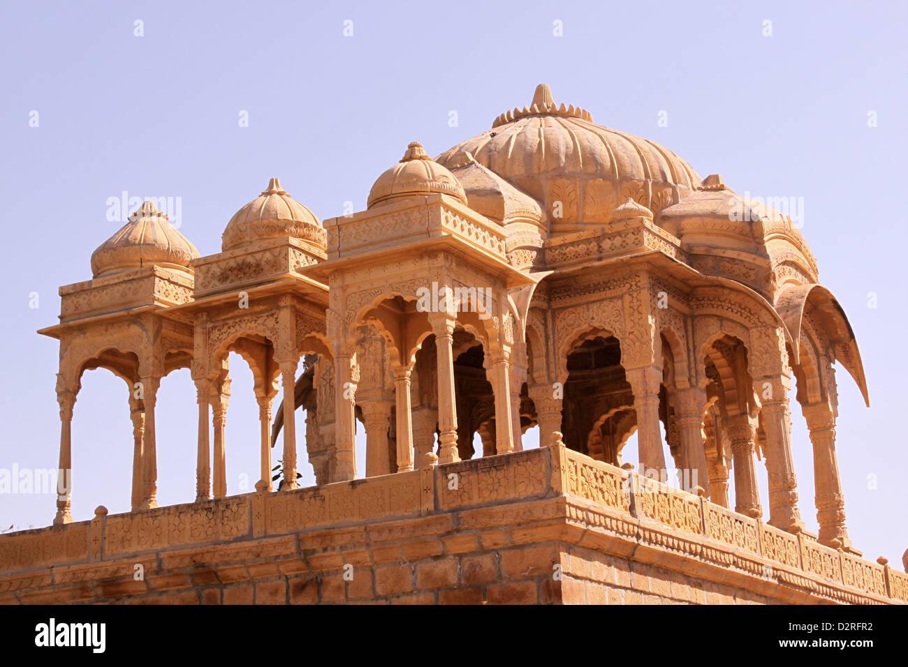 Royal Chhatris or cenotaph's of Bada Bagh Jaisalmer Rajasthan India - Stock Image