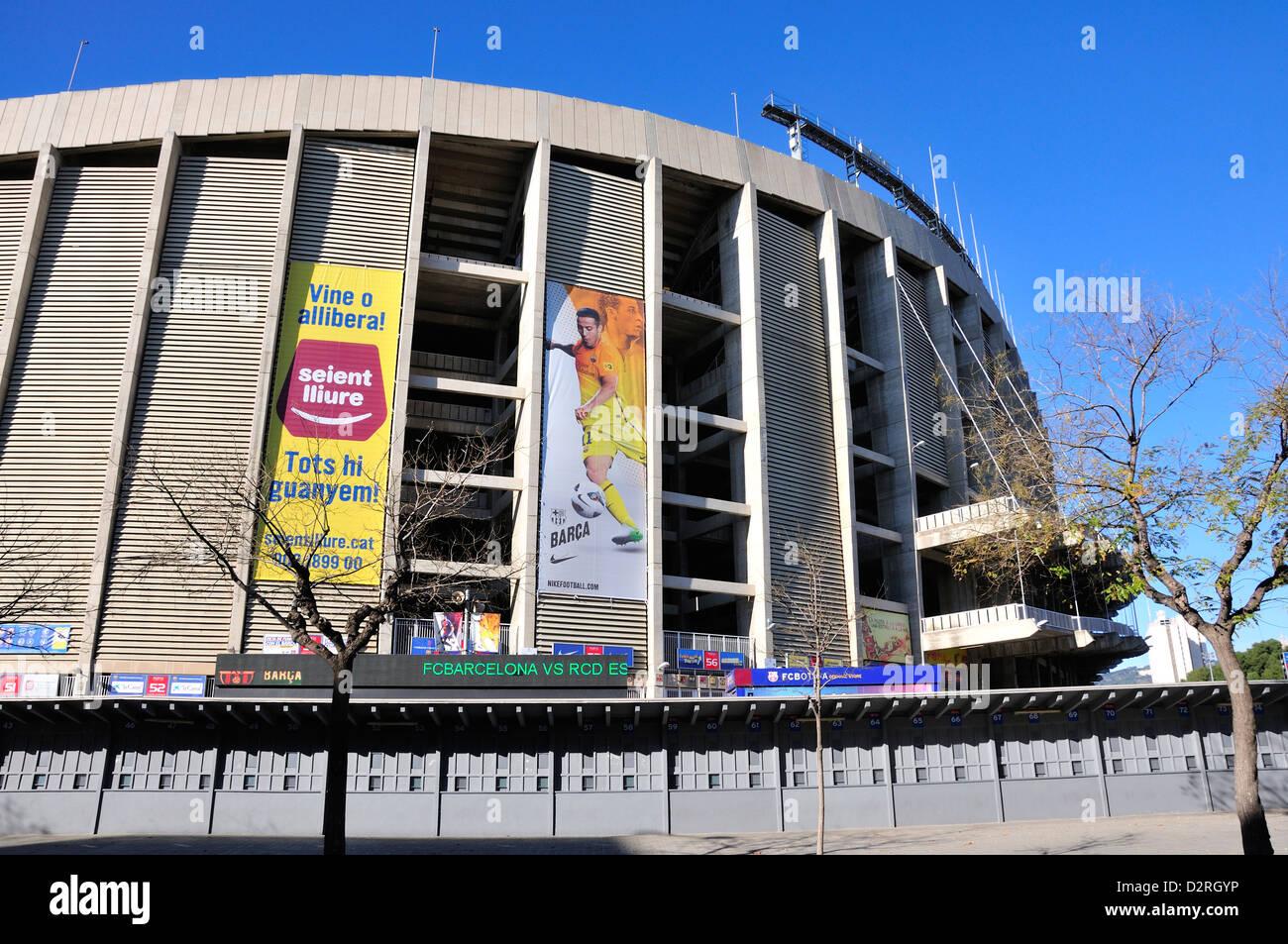 Barcelona, Catalonia, Spain. Camp Nou football stadium (1957) home of F C Barcelona - Stock Image