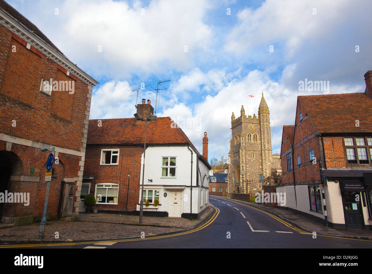St Mary's Church in the distance, Old Amersham, the Chilterns, Buckinghamshire, England, UK - Stock Image